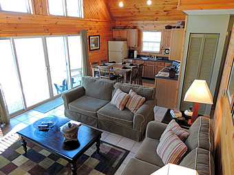 Vista Point living and kitchen areas @ Rock Creek Cabins