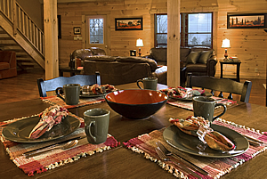 O'Mygosh cabin dining area @ Rock Creek Cabins